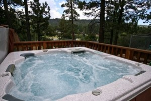 Spa at Big Bear Lake cabin.