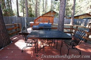 Backyard deck at a Big Bear Lake vacation rental.
