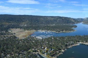 Big Bear Lake cabins from a helicopter tour