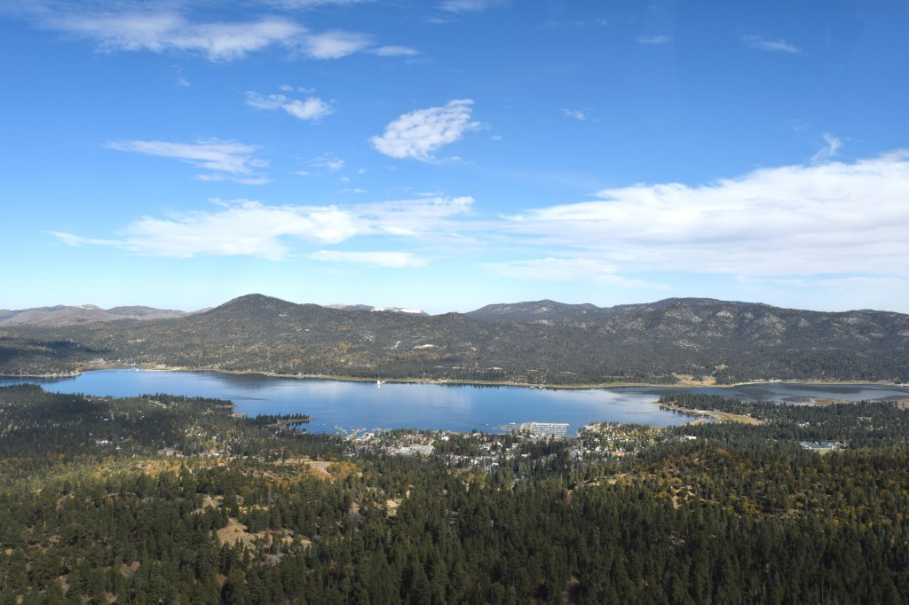 View of Big Bear Lake from a helicopter tour