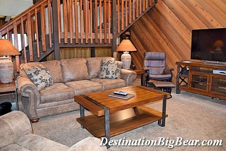 Big Bear Lake cabin rental living room after