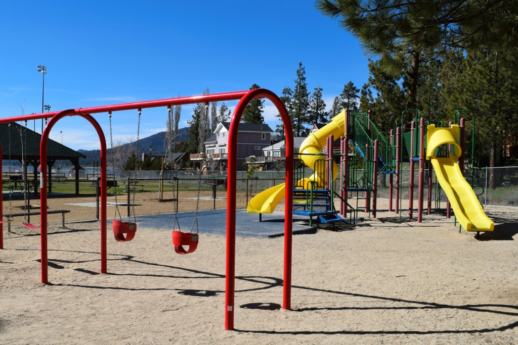Swings at Meadow Park in Big Bear Lake