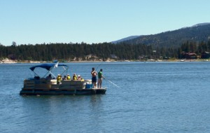Fishing by boat on Big Bear Lake