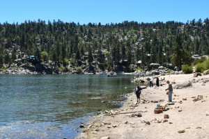 Fishing on the north shore of Big Bear Lake