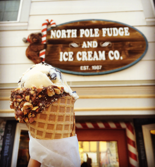 North Pole Fudge and Ice Cream Co ice cream cone in Big Bear Lake