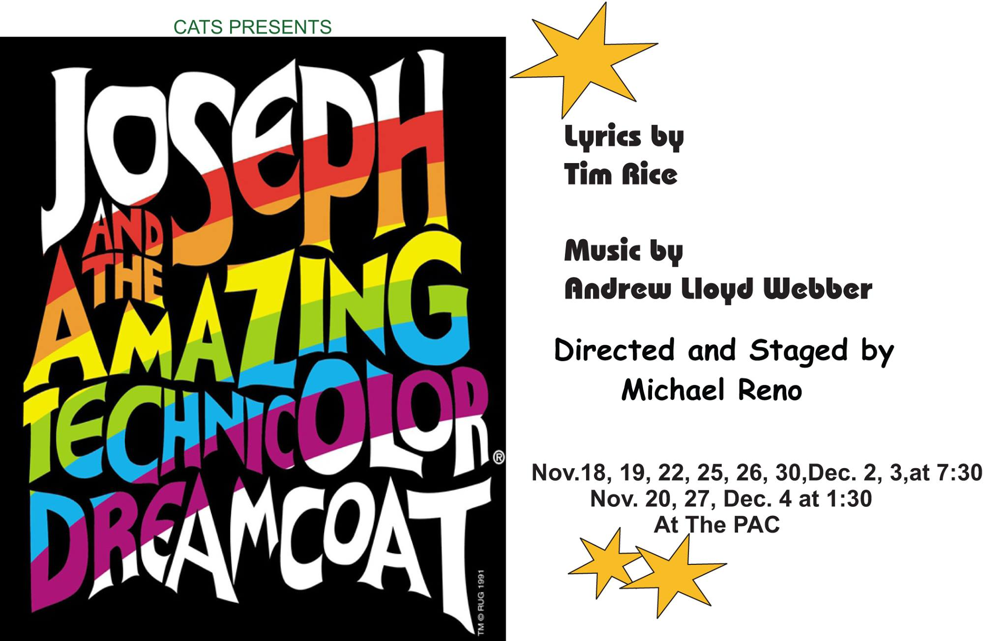 joseph and the amazing technicolor dreamcoat essay Synopsis: joseph and the amazing technicolor dreamcoat the  play opens with the narrator finding an old book, picking it up, blowing off the.